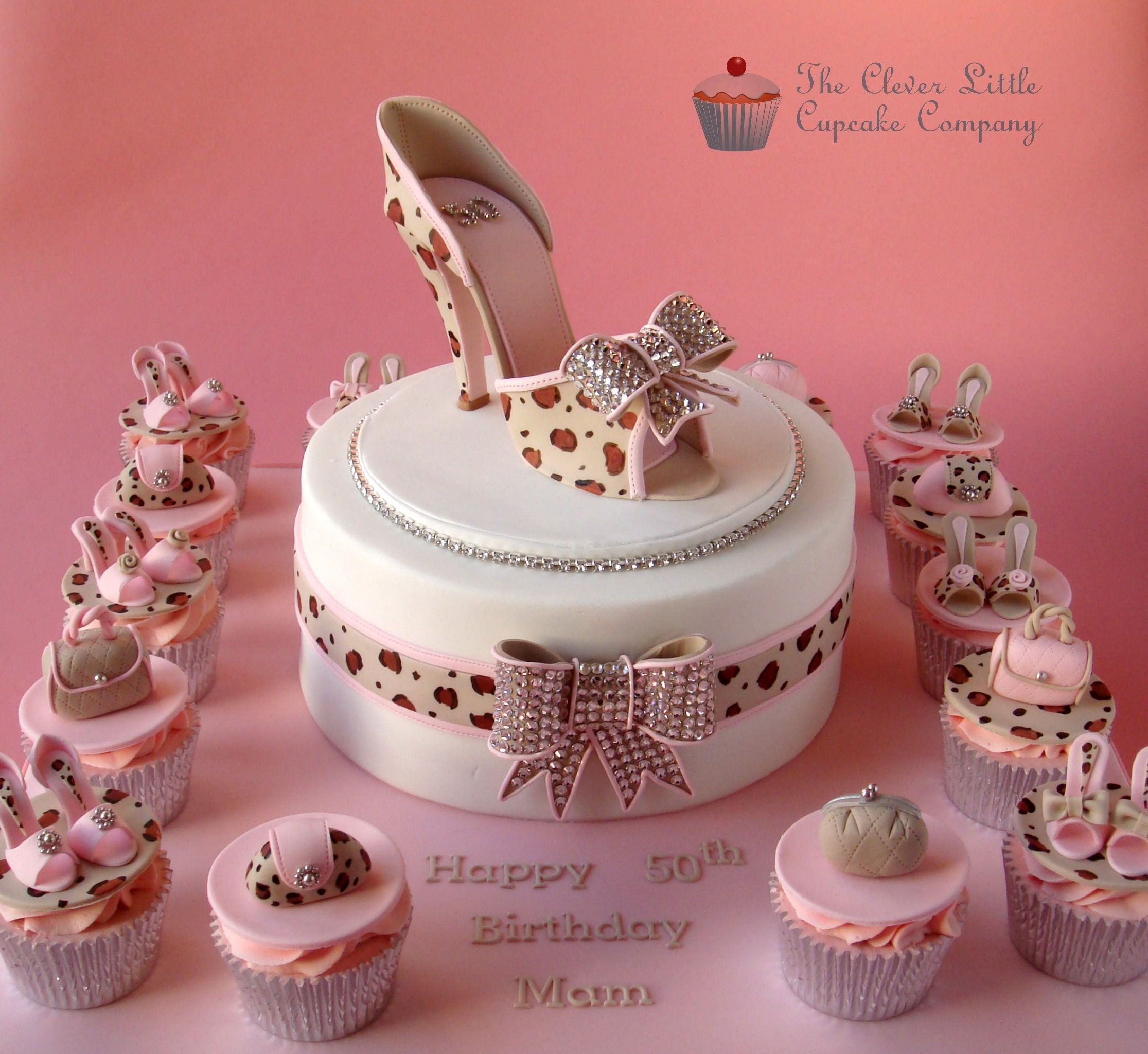 Leopard Skin and Crystal Shoe Cake -