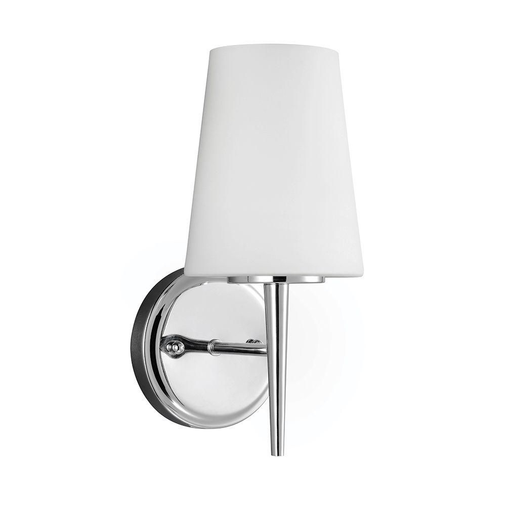 Beau Sea Gull Lighting Driscoll 1 Light Chrome Wall/Bath Sconce With Inside  White Painted Etched Glass 4140401 05   The Home Depot