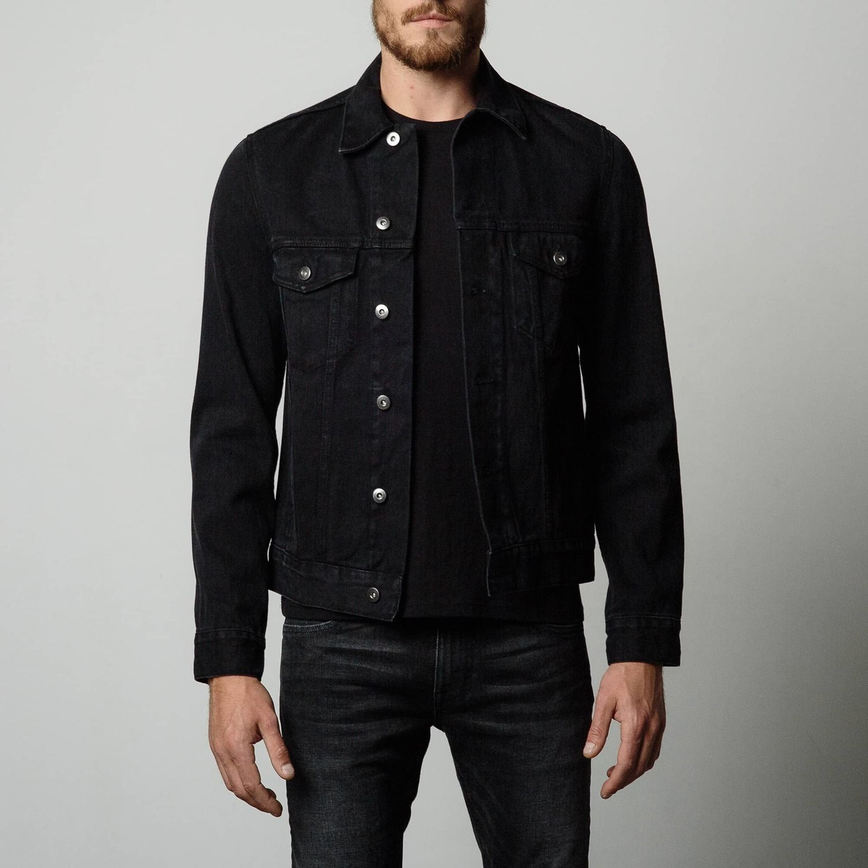 Mens Denim Jacket in Worn Black | Clothing - Industrial ...