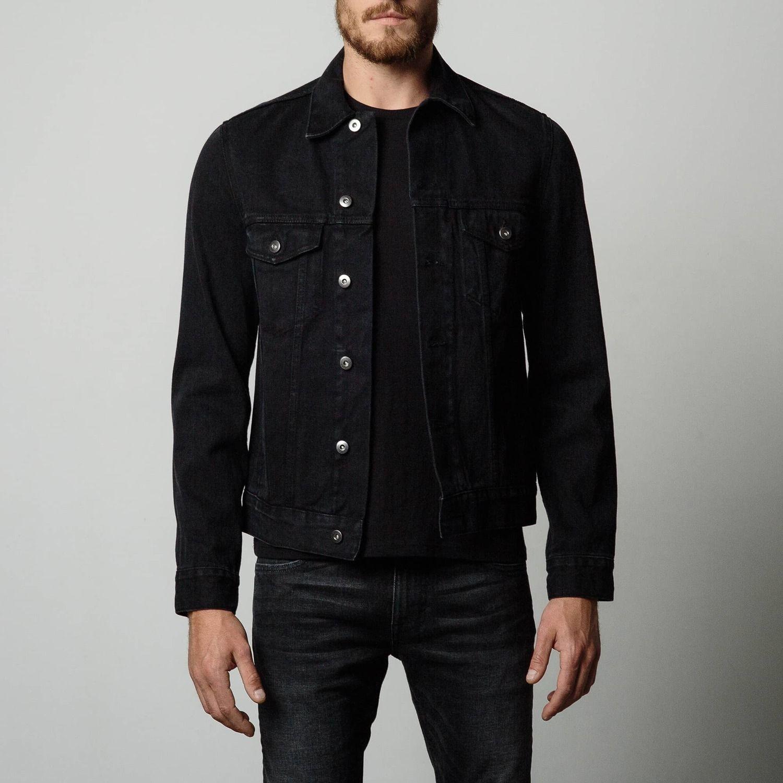 Mens Denim Jacket in Worn Black Denim jacket men outfit