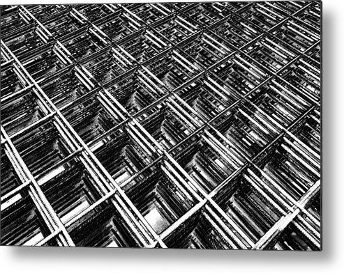 Black and white metal print featuring the photograph rebar on rebar industrial abstract by karen