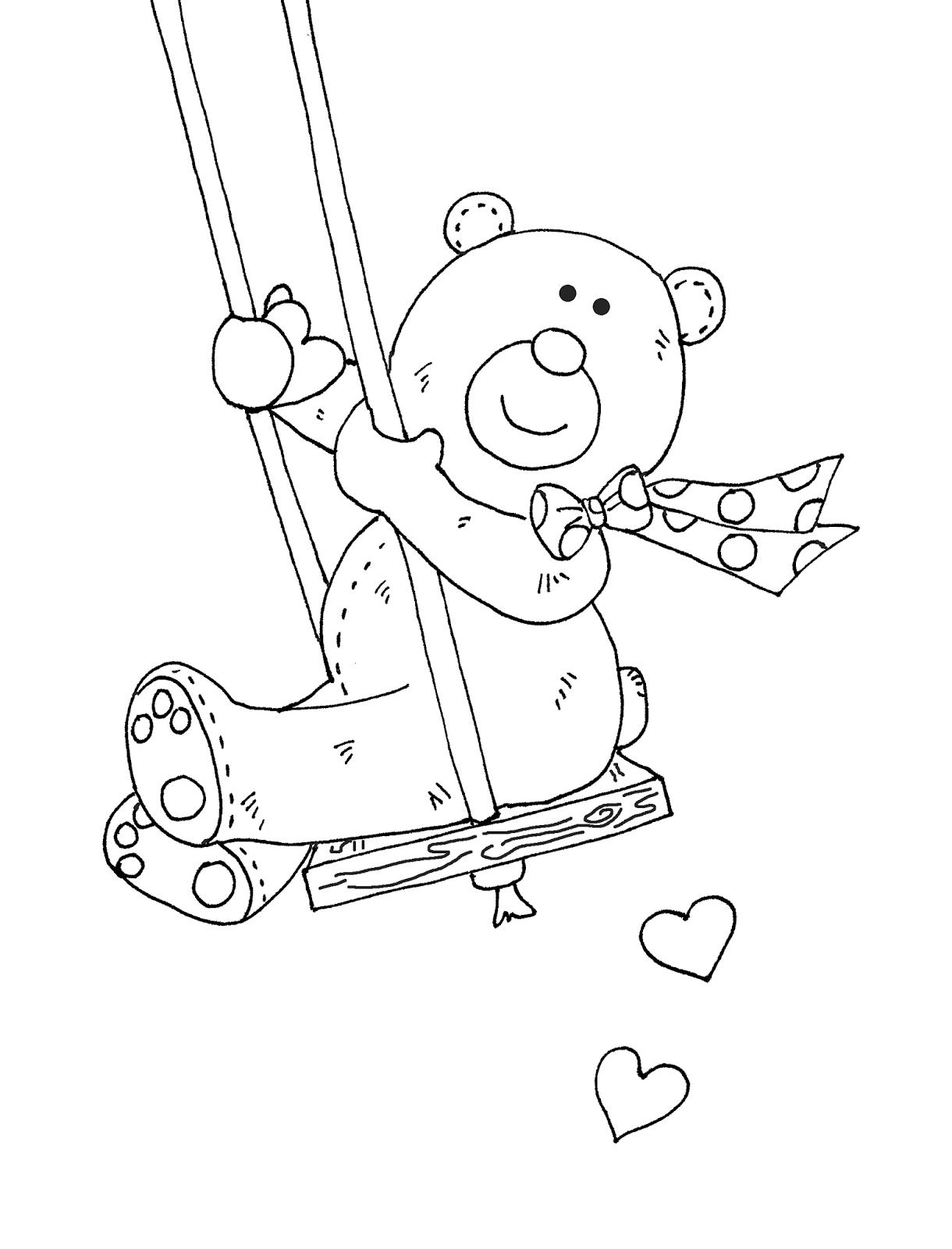 Free Dearie Dolls Digi Stamps: Valentine Bear Swing | estenciles y ...