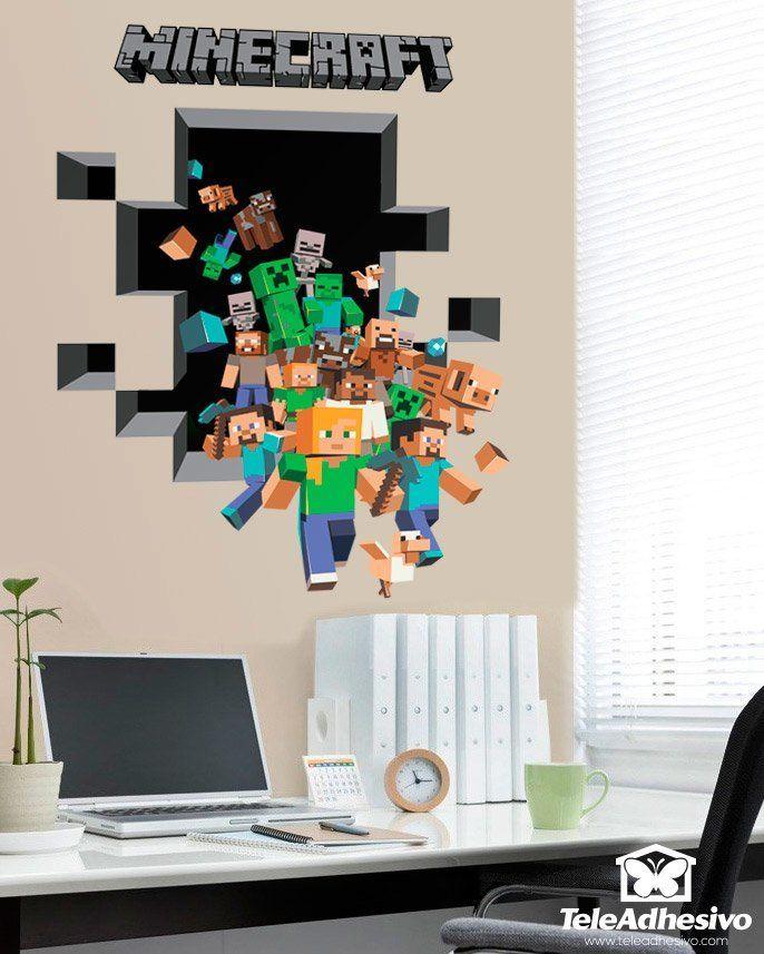 Minecraft 3d 2 vinilos de videojuegos pinterest for Vinilos 3d infantiles