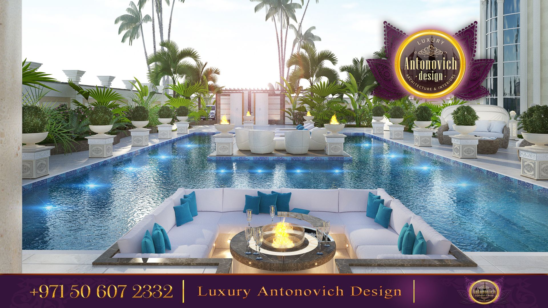 Beautiful dressing room design in dubai by luxury antonovich design - Gorgeous Swimming Pool Area By Luxury Antonovich Design Everything Is Thought Out To The Last