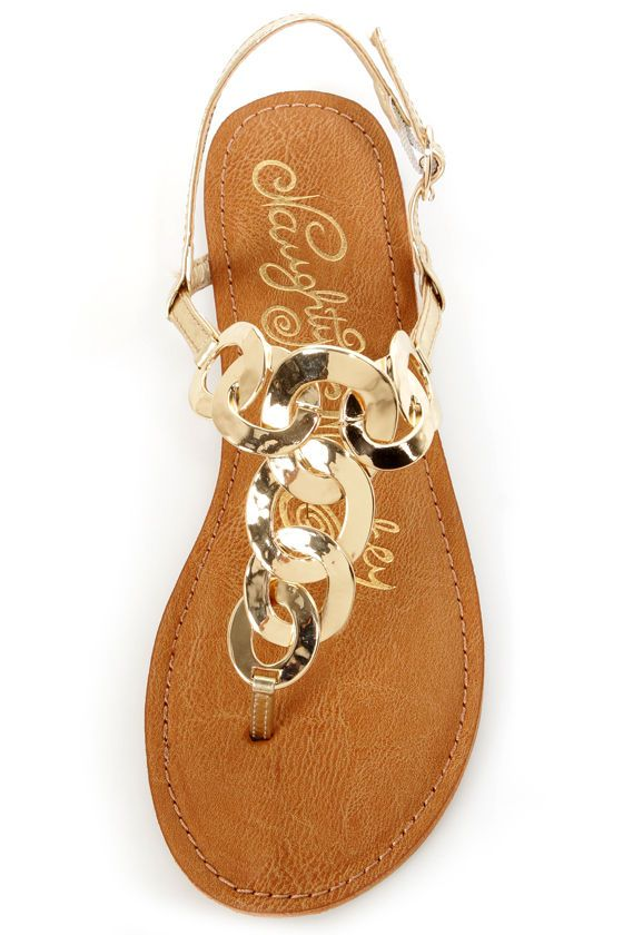 Naughty Monkey Legendary Gold Metal Chain Thong Sandals - $54.00
