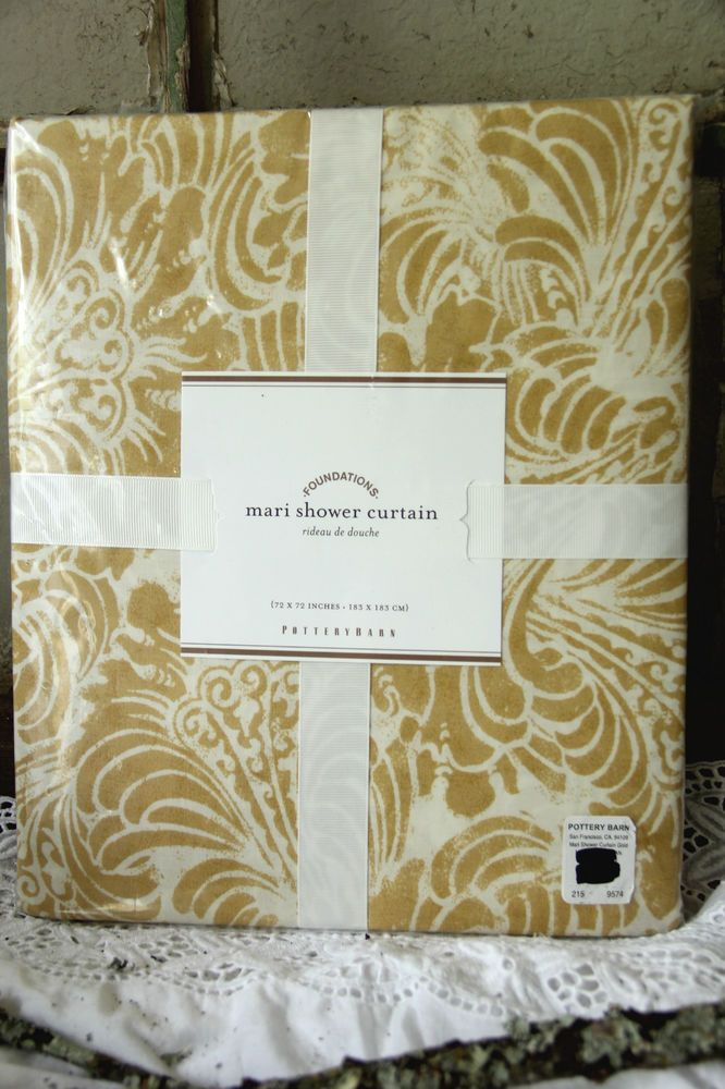 NWT Pottery Barn Mari Gold Watercolor Shower Curtain Yellow SOLD OUT @ PB Fabric