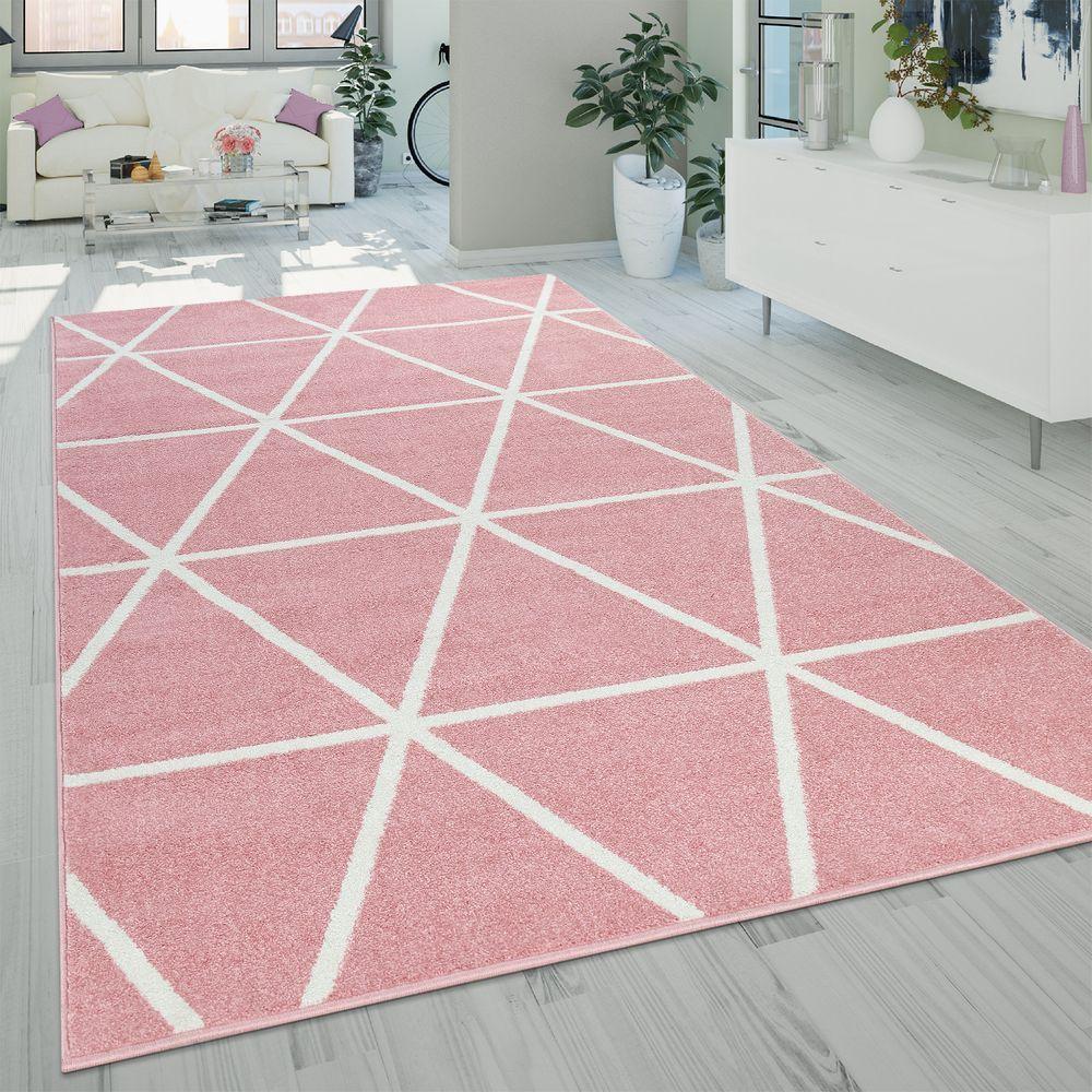 Kurzflor Teppich Rauten Muster Rosa Weiss Teppich Teppich Rosa Ethno Teppich