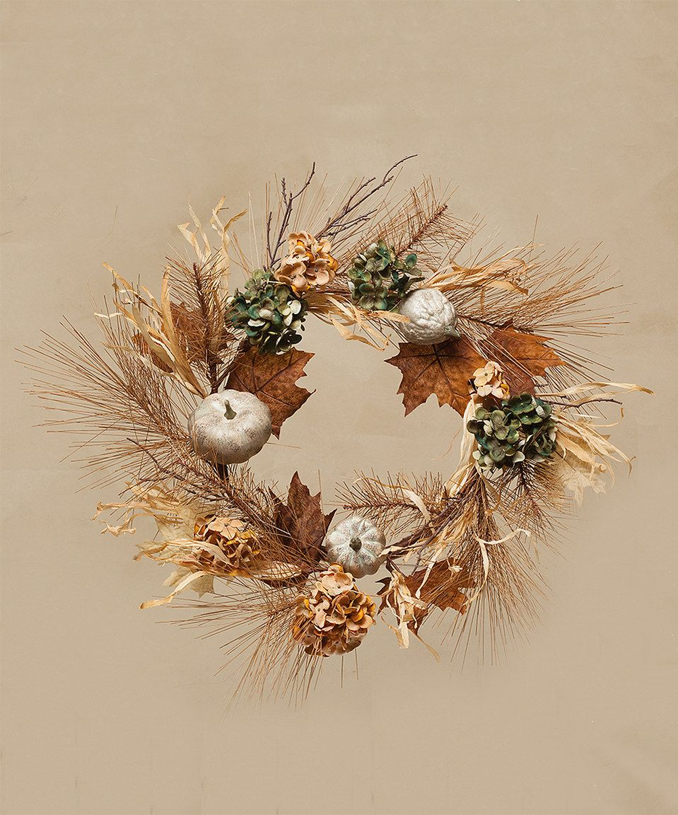 Another great find on #zulily! Hydrangea & Pumpkin 20'' Wreath by ZiaBella #zulilyfinds