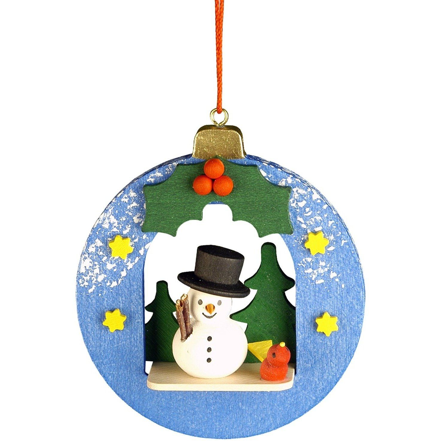 Holiday German Ornament Snowman In Christmas Ball