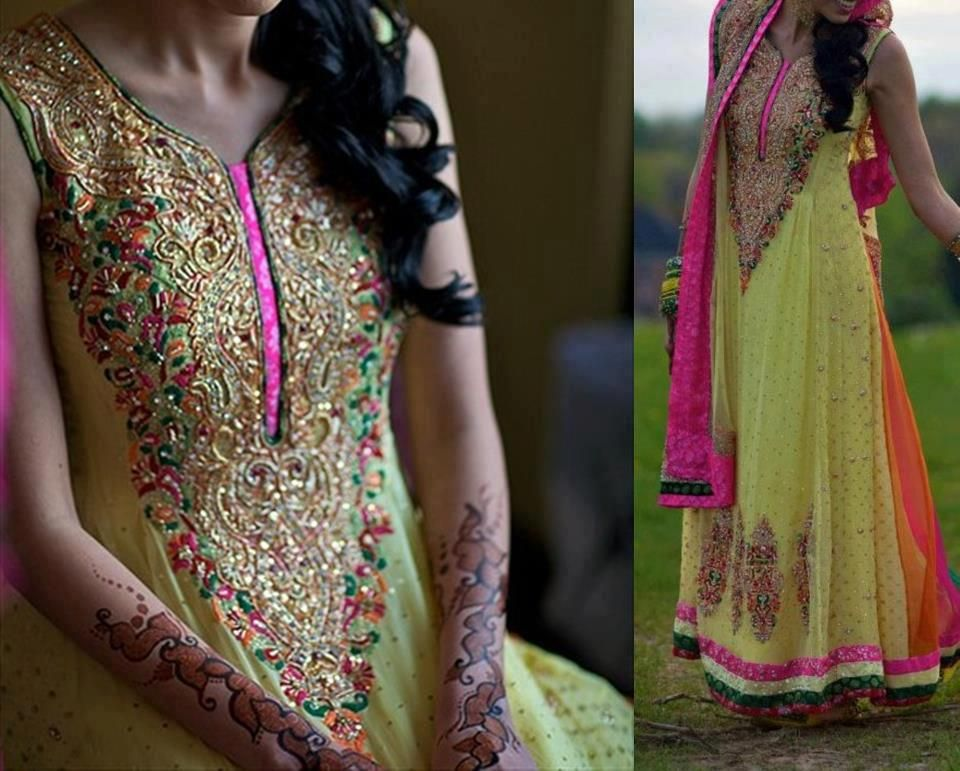 Mehndi Party Attire : Neon green with hot pink gold embroidered party bridal wear