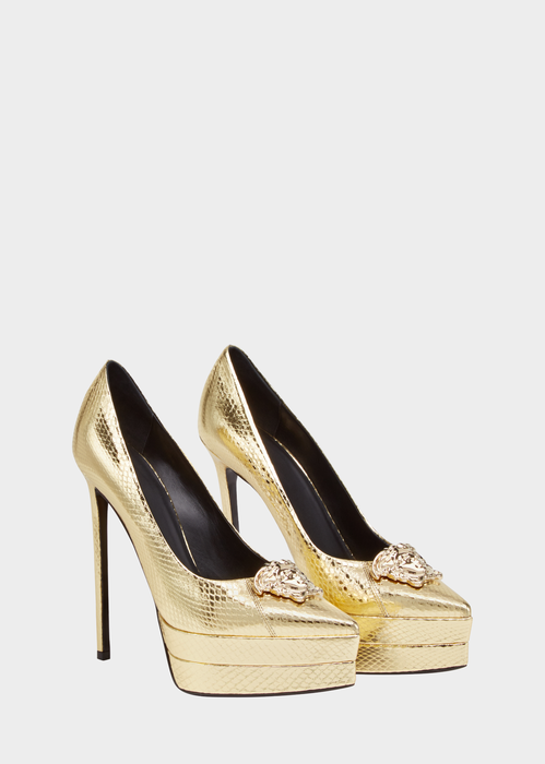 761cddaf4de0 Medusa Laminated Platform Pumps from Versace Women s Collection. Golden  glamour. High-heel