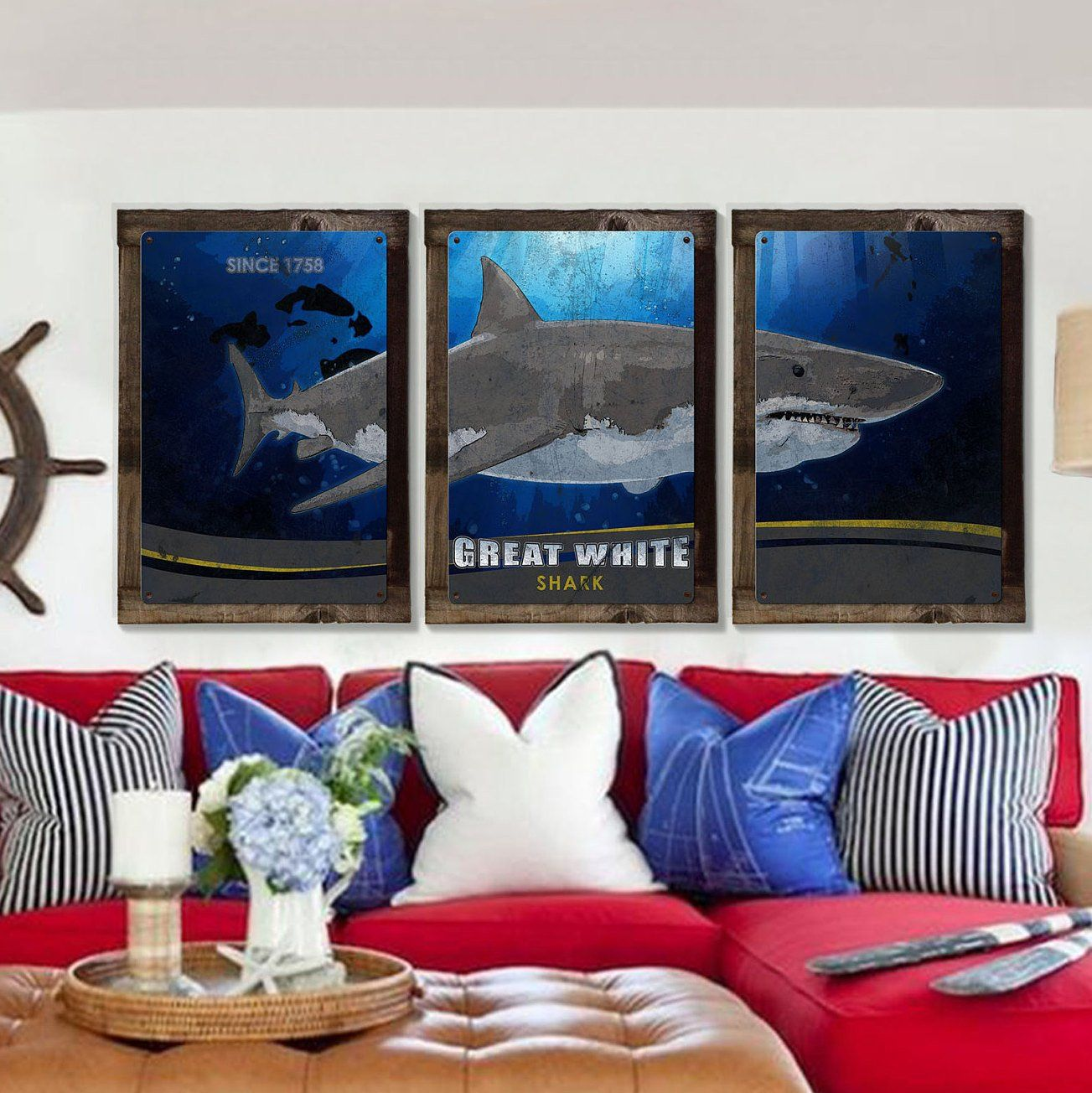 Great white shark metal triptych optional rustic wood