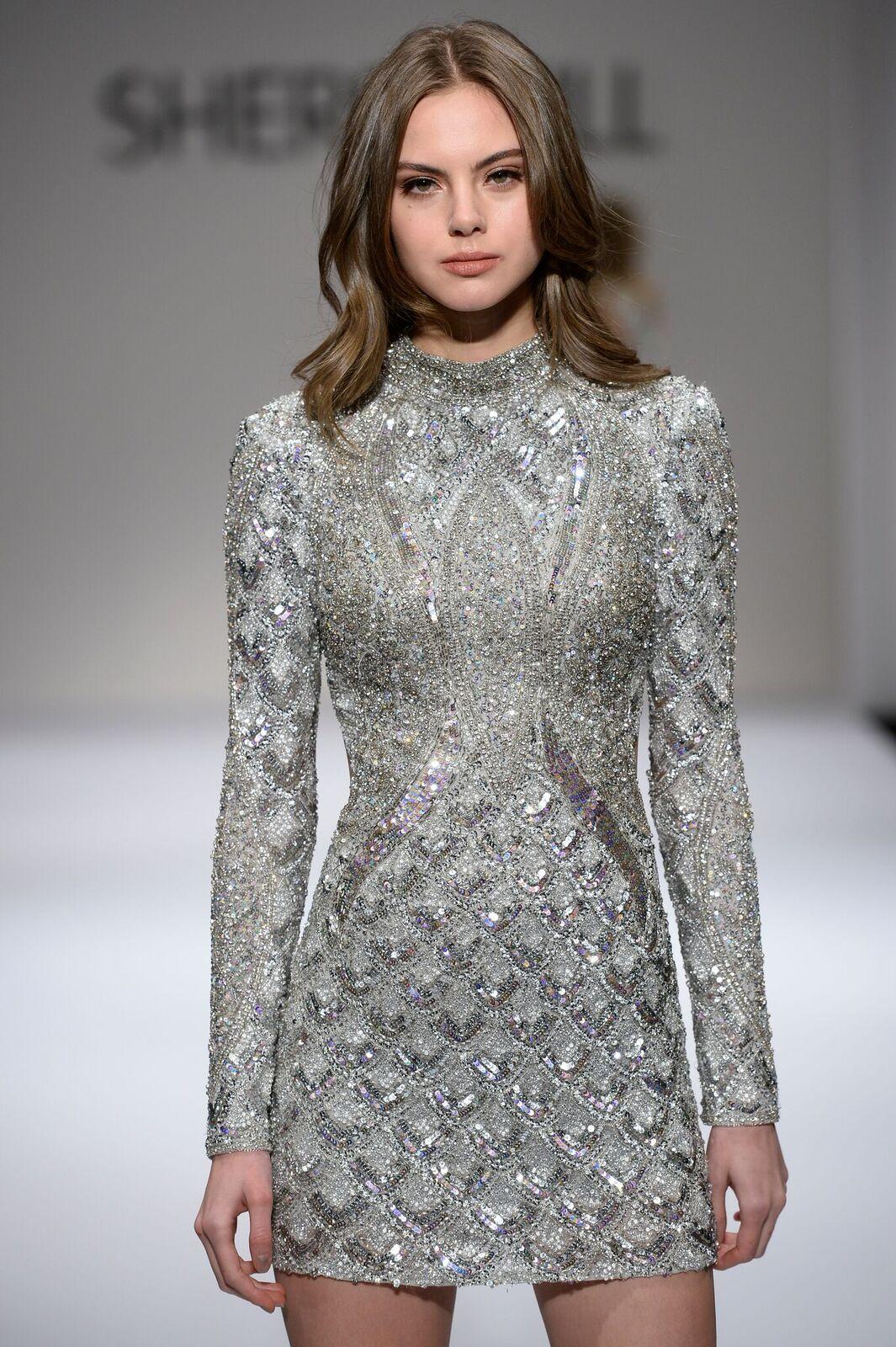 5f3510233543 Sherri Hill Silver Longsleeve High Neckline Fully Beaded Ypsilon Dresses  Prom Pageant Evening Wear School Dance