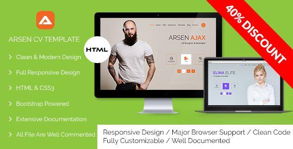 ARSEN - CV/RESUME - HTML Template 45 OFF! Special Ramadan Discount