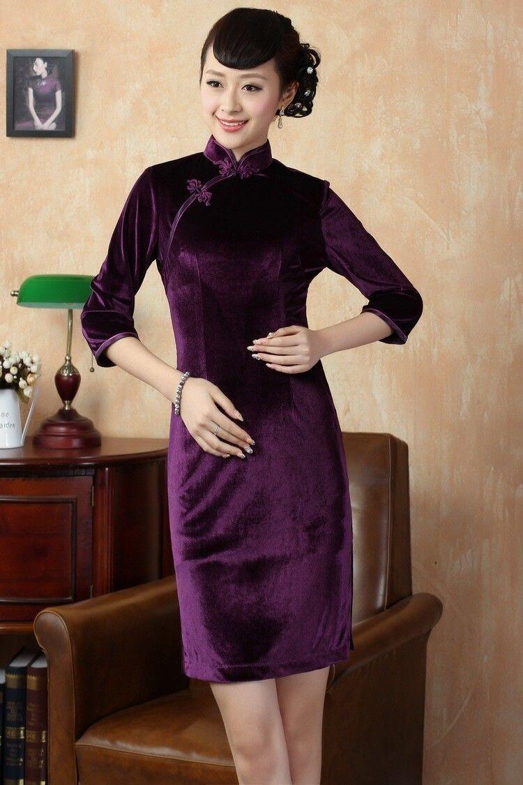 Fashion purple female silk velvet evening dress chinese traditional
