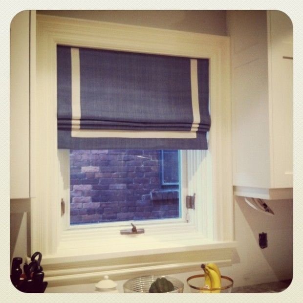 White Fabric Available Made to Order Any Size Custom Roman Shades with Ribbon Trim Banding