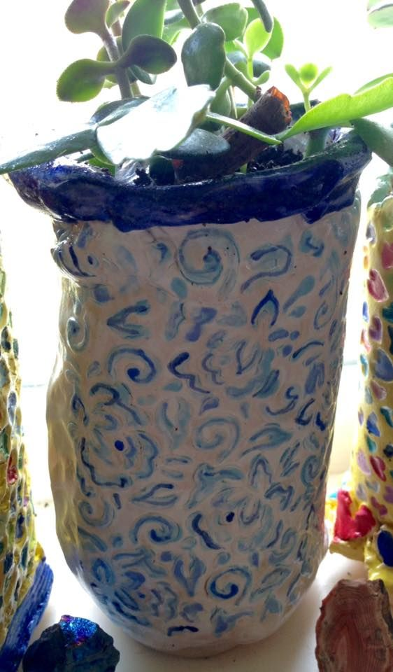Blue & White vase. 2017 - KN Made at Julian Jardine's beginners clay Flower Vases Perth on flower store, flower pot, flower crystal, flower trash can, flower window, flower bouquet, flower sign, flower painting, flower punch set, flower dinnerware set, flower coloring pages, flower stand, flower decor, flower tissue box cover, flower basket, flower arrangements, flower plant, flower decoration, flower gift, flower container,