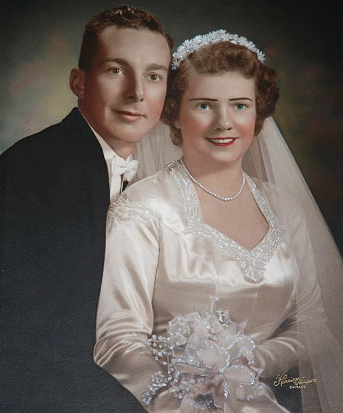 Vintage Wedding Dresses Chicago: Hand-tinted 1940's Wedding Portrait