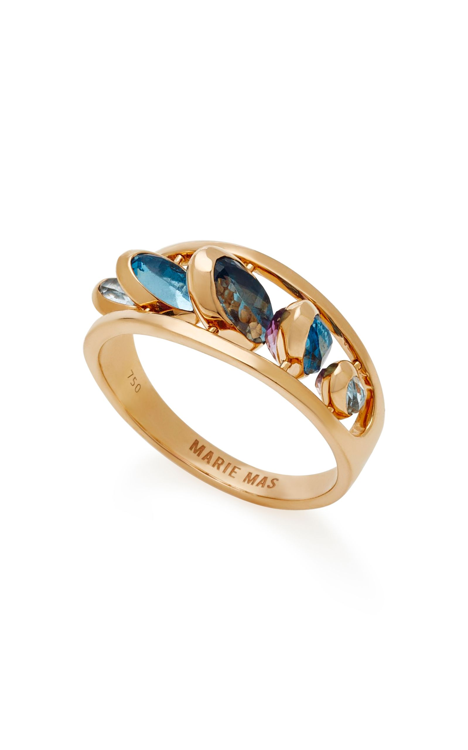 Dancing 18k Rose Gold Pink Amethyst And Blue Topaz Ring Jewelry