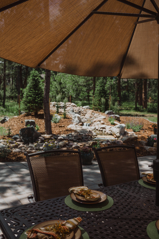 Luxury Waterfall Colorado Springs In 2020 Diy Outdoor Seating Colorado Landscaping Outdoor Landscaping