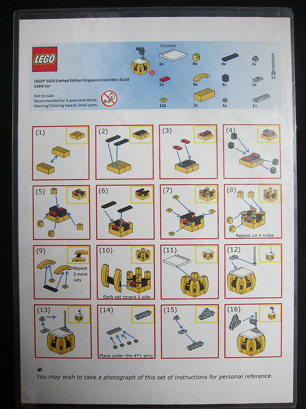 LEGO SG50 Limited Edition Singapore Icons Mini Build - Cable Car - Instructions - 1 of 1