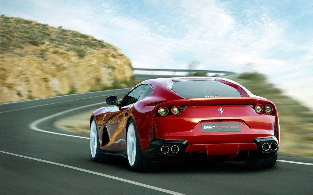 Ferrari 812, Sport Superfast, Red Car, Rear View Wallpaper