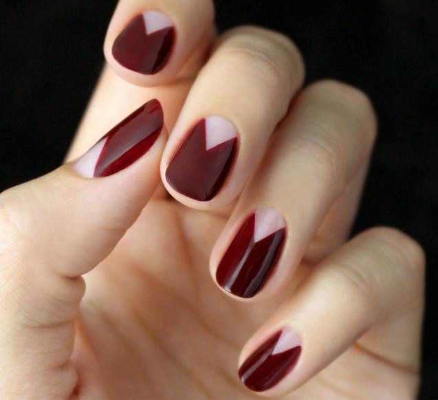 Mani Monday: Burgundy Chevron Half Moon Nail Tutorial | Moon nails ...