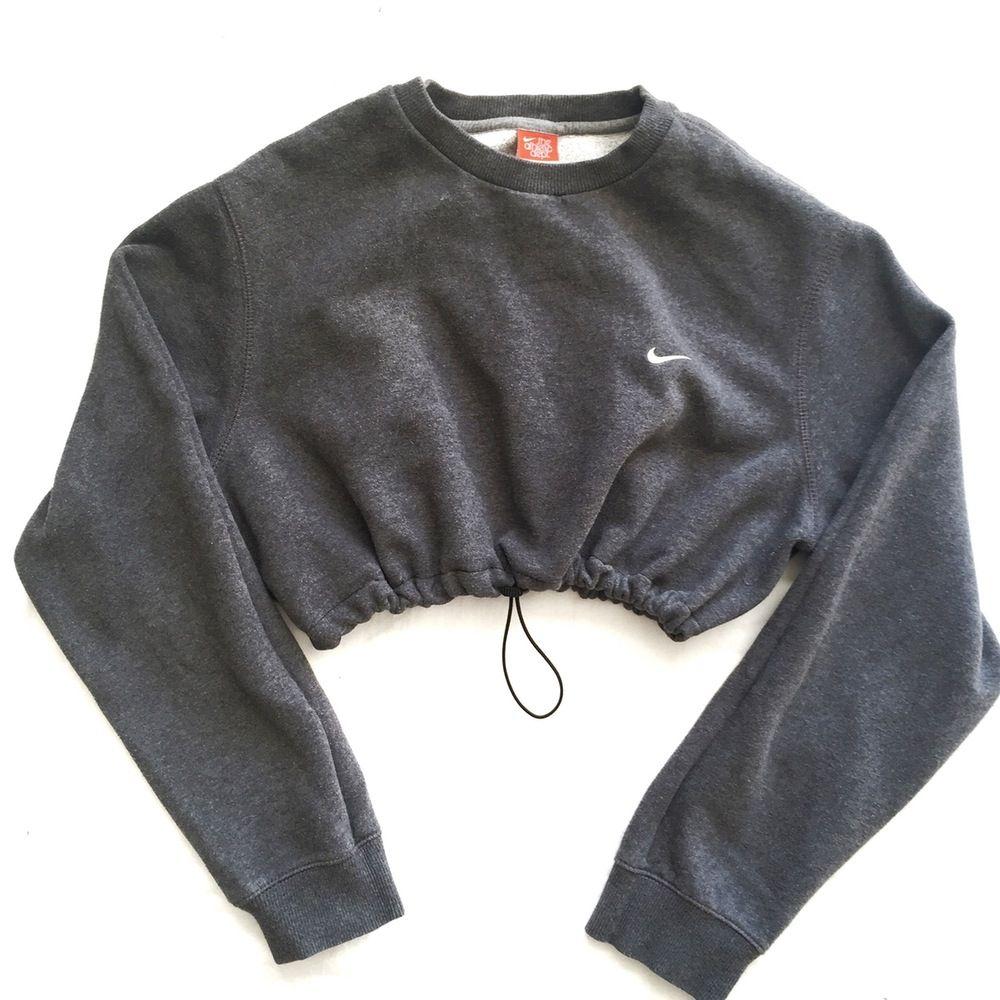 QUEENS | Reworked Nike Crop Sweatshirt Charcoal