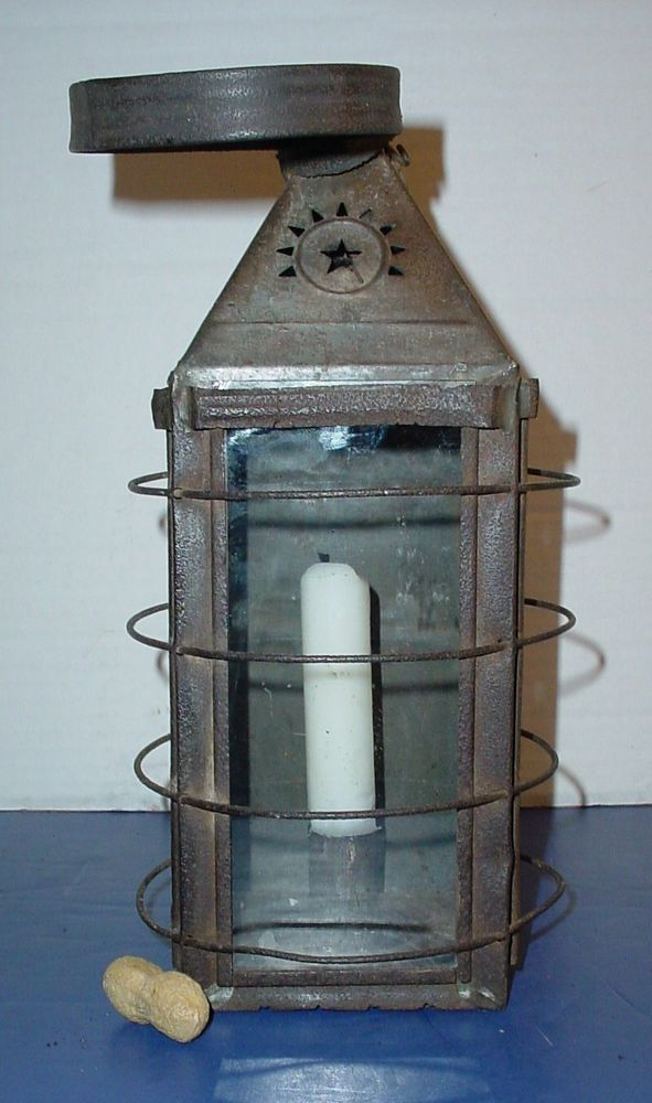 Early Lighting 19th C Tin Glass Lantern Punched Star Primitive Candle Holder Primitive Candles Primitive Lighting Primitive Candle Holders