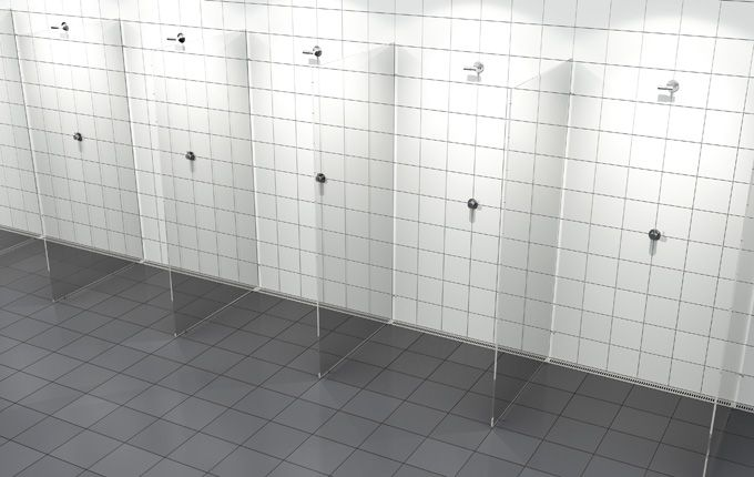 Changing Room Shower With A Costumized Modular Linear Drain System