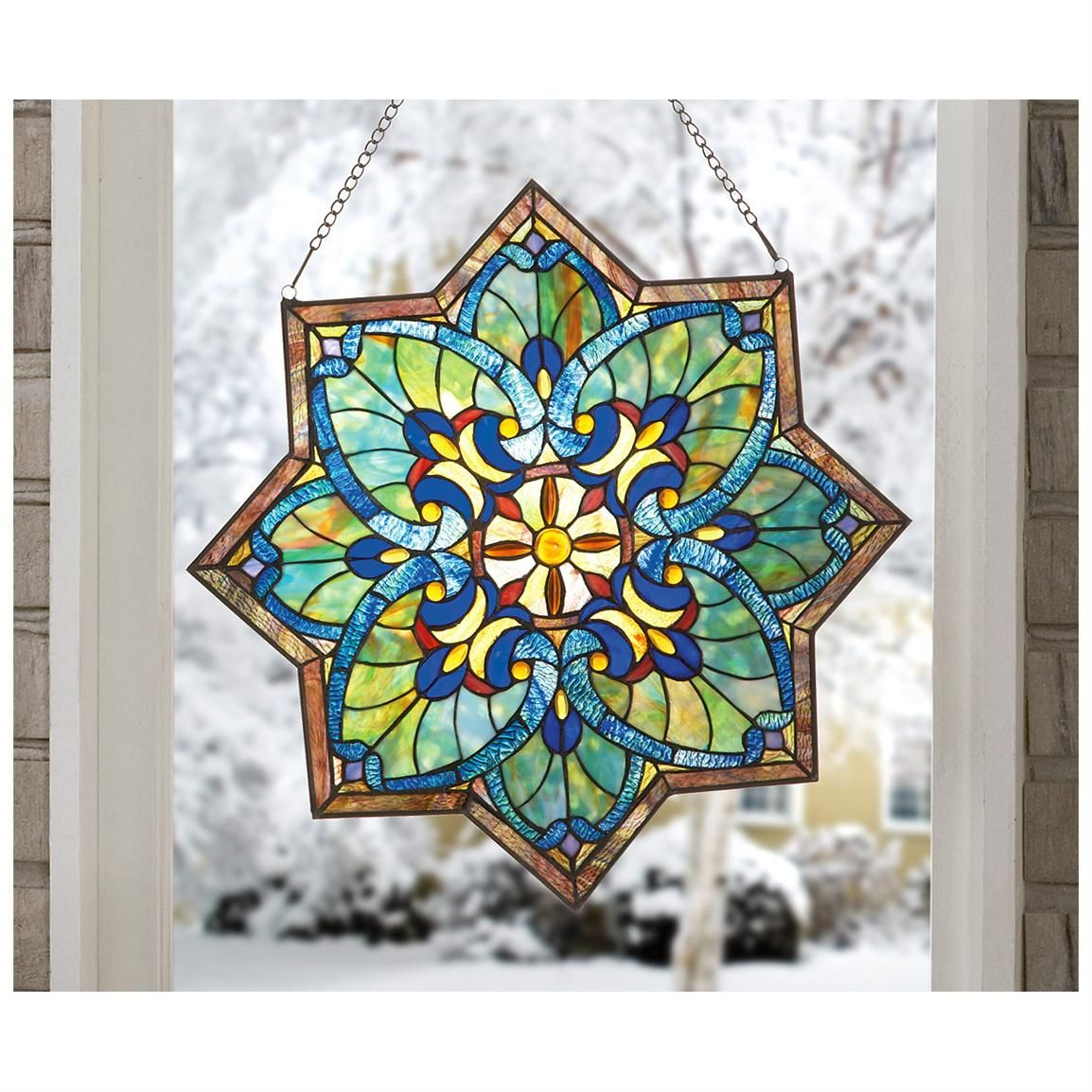 Marvelous Decorative Stained Glass Windows #1: Stained Glass Window Panels | Castlecreek Star Stained Glass Window Panel -  1104877, Decorative Acc