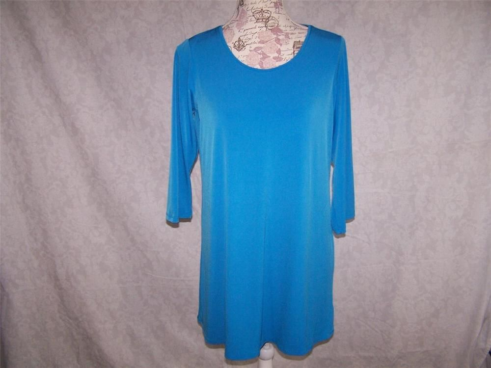 SUSAN GRAVER Tunic Top S Liquid Knit Stretch 3/4 Sleeves Blue Womens Shirt #SusanGraver #Tunic #Casual