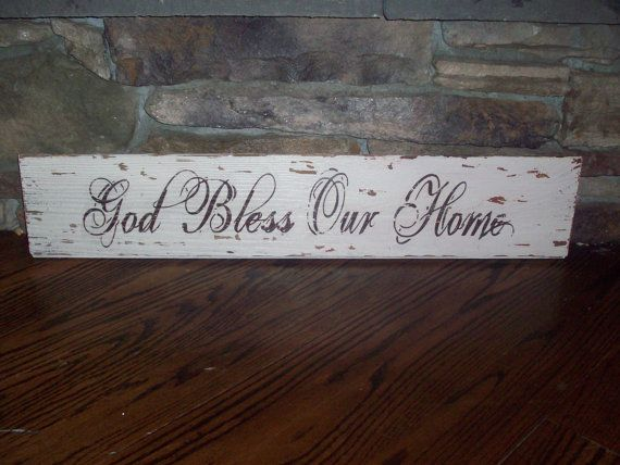 God Bless Our Home Barnwood Sign 24x5 5 By Theravagedbarn On Etsy 24 00 Barn Wood Signs Diy Wood Signs Barn Wood Projects