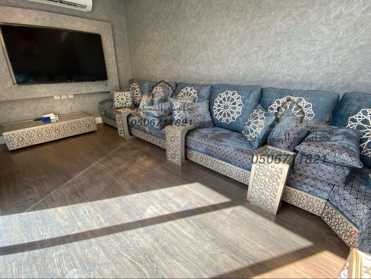 مجلس مغربي ارضي روعة من تصميم وتنفيذ جلستي المطرزة جوال التواصل 0506711821 Home Decor Sectional Couch Furniture