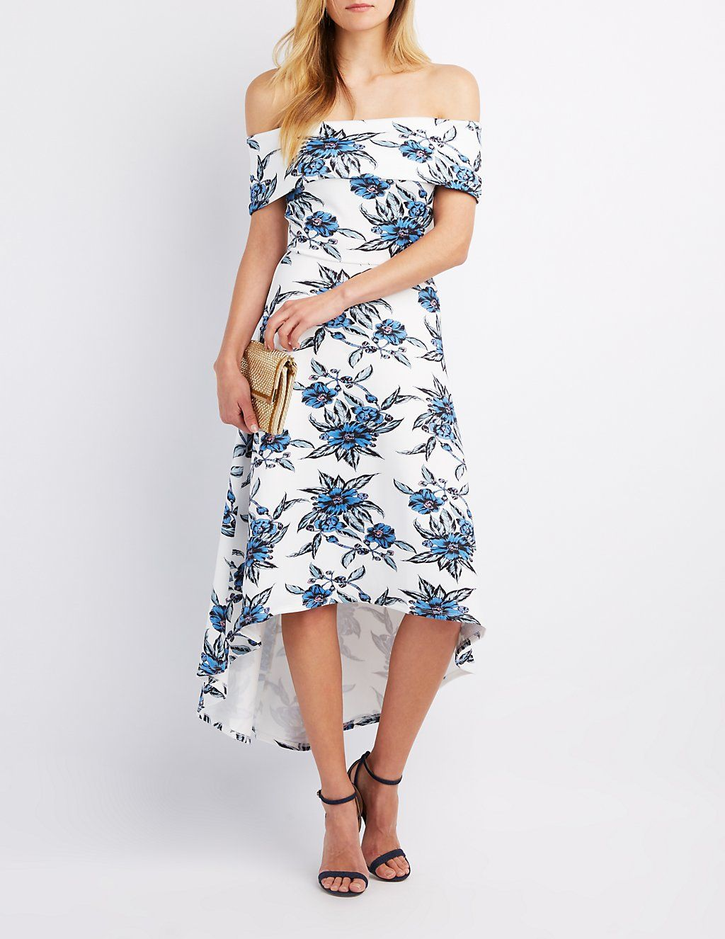 08e21fb0ab Floral Off-The-Shoulder High-Low Dress
