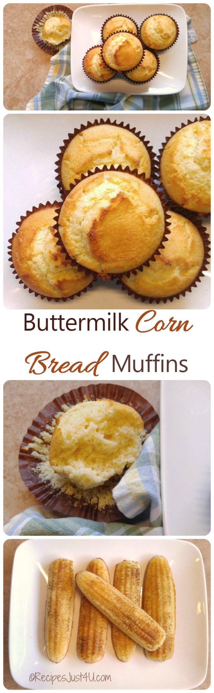 Buttermilk Corn Bread Muffins Recipe Great Comfort Food Side Dish Recipe Buttermilk Recipes Food Muffin Recipes