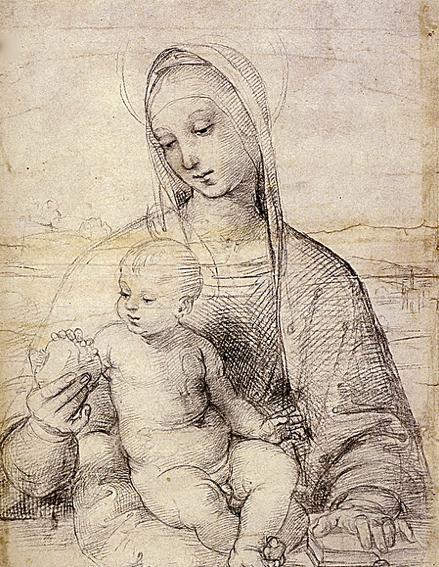 Raphael Santi Ou Sanzio 1483 1520 Dessin Etude La Vierge Et L