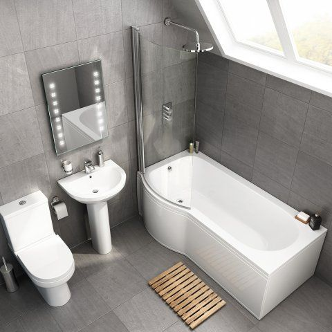 1700mm X 850mm Cesar P Shaped Left Handed Bath Suite Soak Com