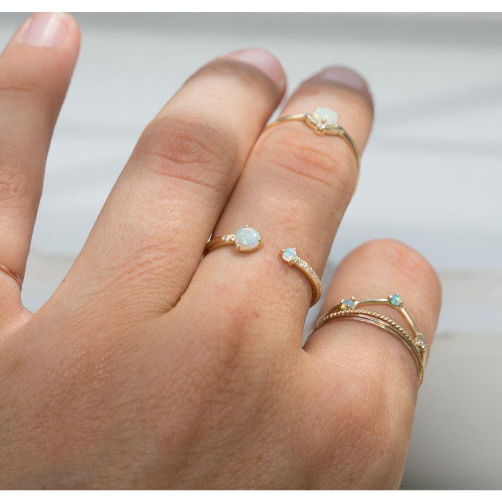 8d0b84ea796c7 Open Opal & Diamond Ring | Jewels & Adornment | Diamond, Rings, Opal