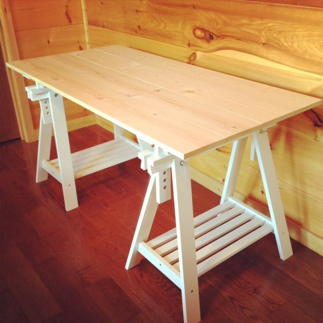Diy Ikea Sawhorse Desk Sawhorse Desk Homemade Desk Ikea Diy
