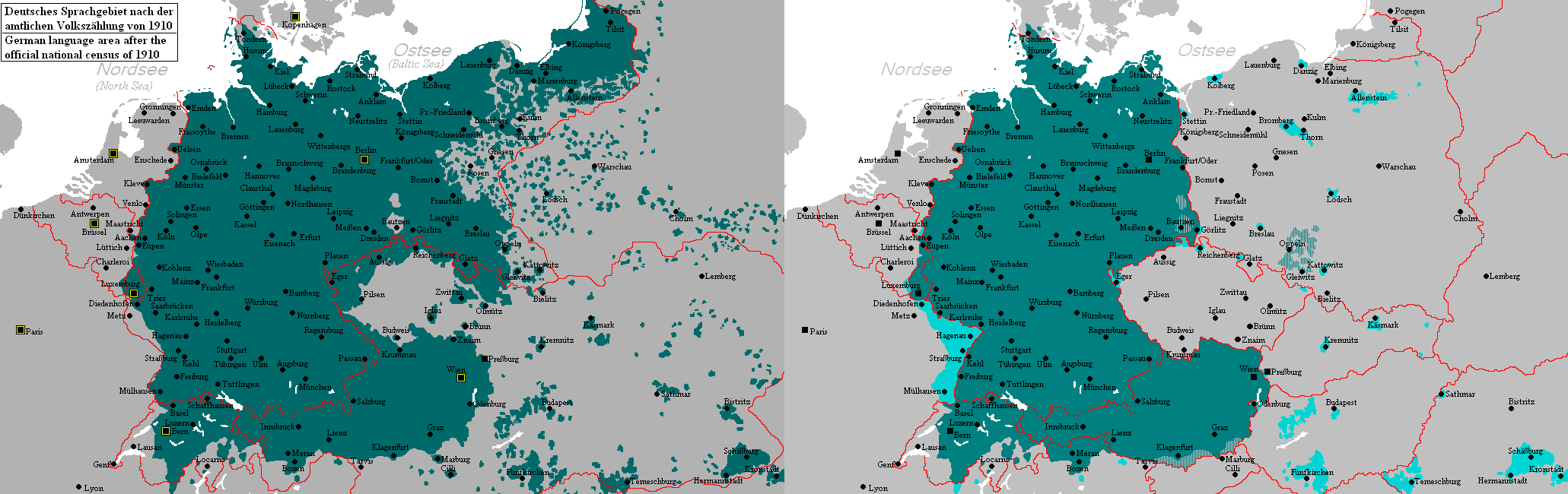 German Language Area Before After The World Wars Germany - Before and after world