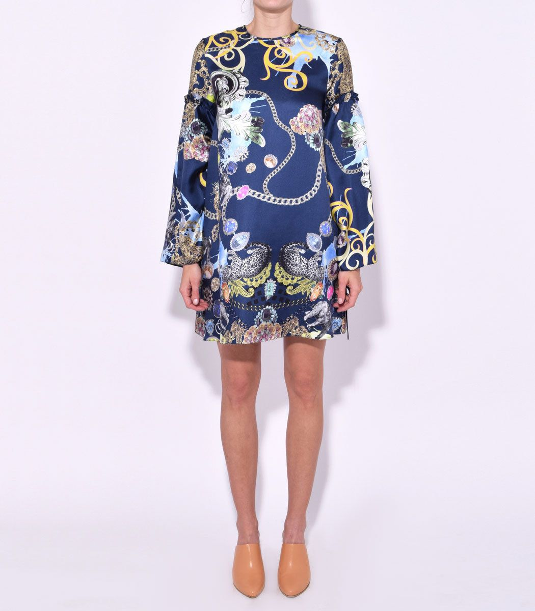 Tibi Navy trapeze dress featuring a multicolor printed pattern with tied sleeve detail. ShopBazaar,