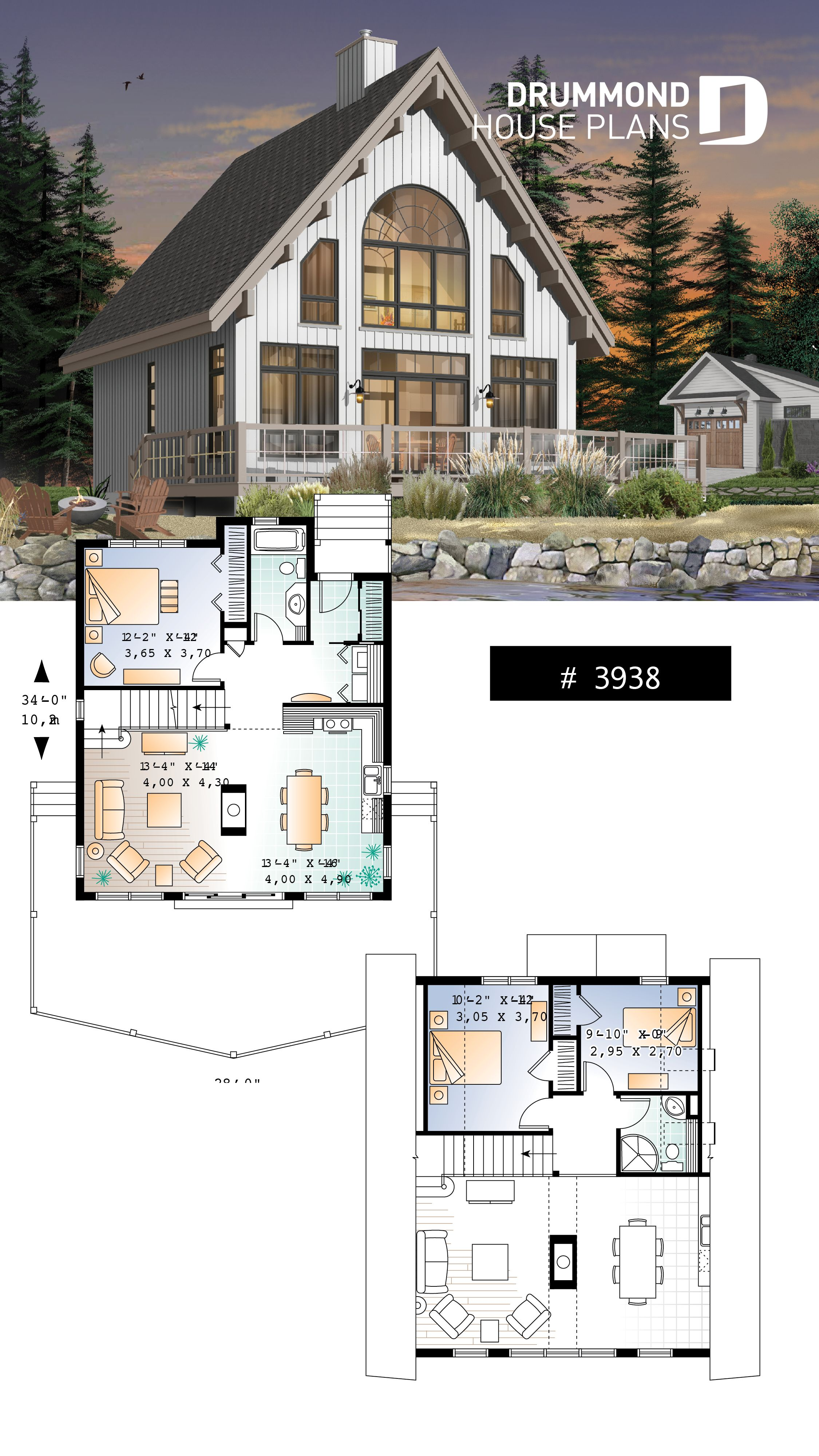 A Frame wood cabin house plan with mezzanine and open