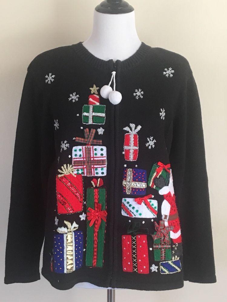 Ugly Christmas Sweater Zip Up Cardigan Santa Tiara Women\u0027s M Tacky