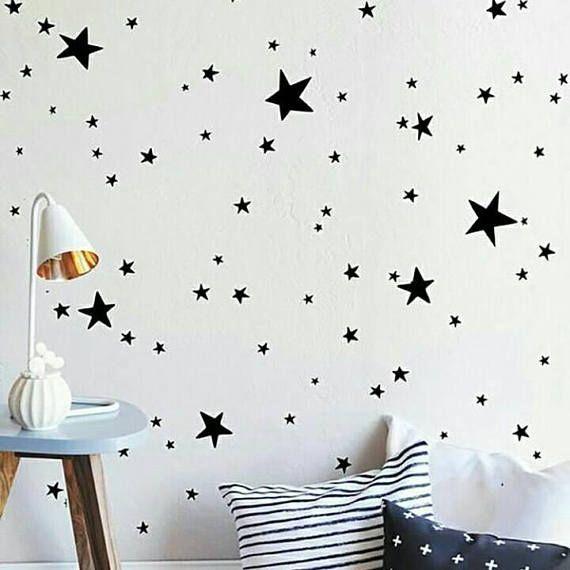 Black star wall decals Kids wall decoration Nursery wall ...