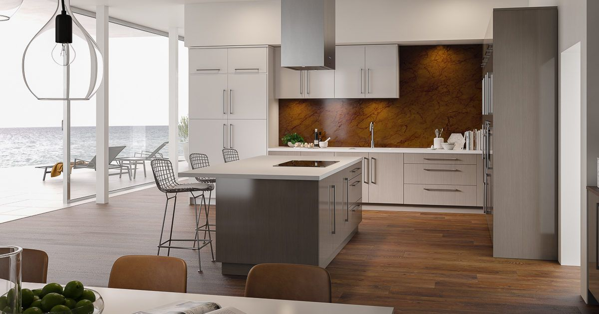High Gloss Acrylic Kitchen Cabinets With Ocean View In Wired Mercury And White High Gloss By Showplace Evo View 1 Cocinas