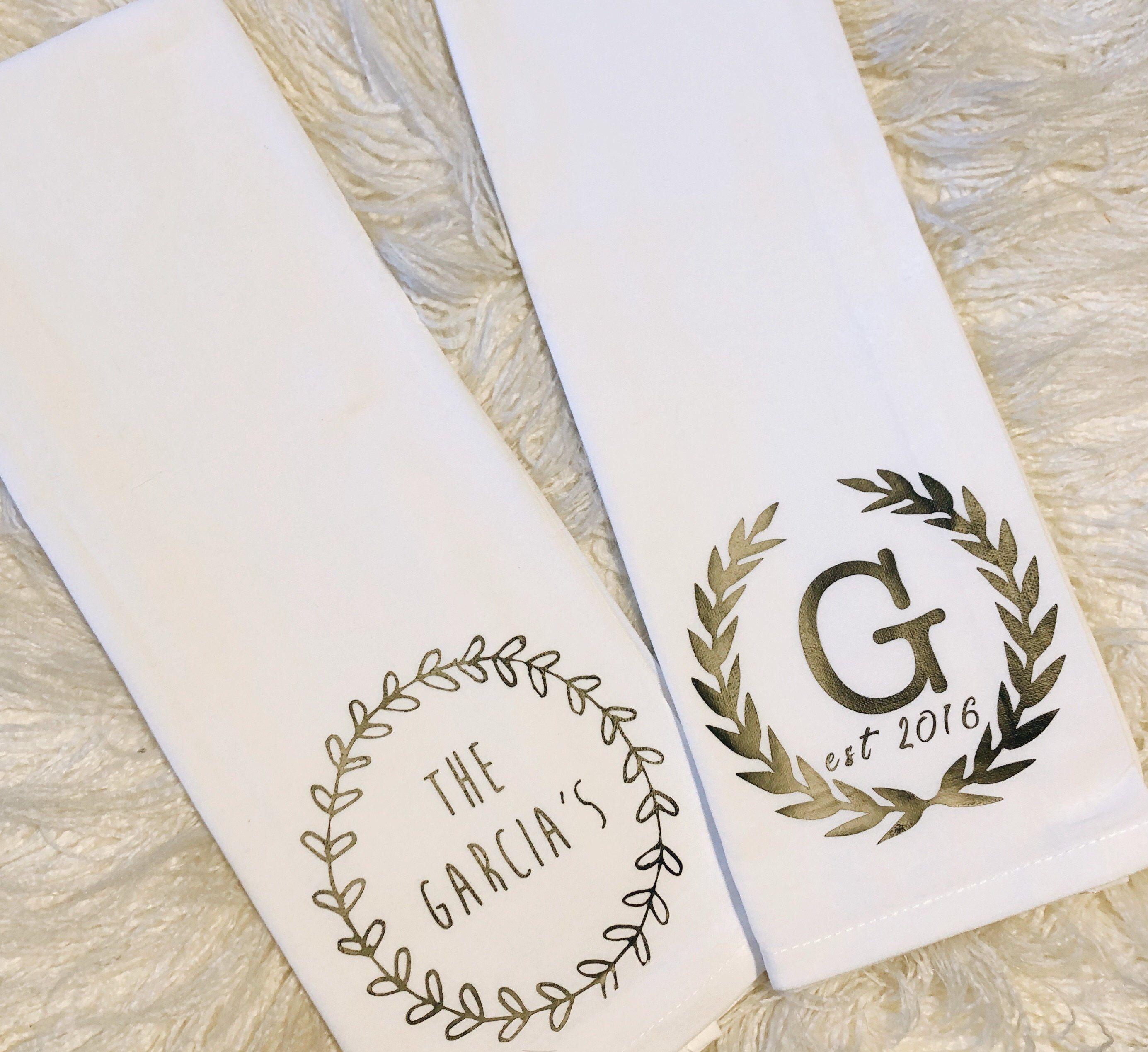 Large Kitchen Towels/Last Name Wedding Gift