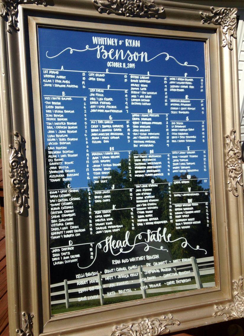 Wedding Seating Charts On Mirrors Mirror Seating Chart Seating Plan Wedding Seating Chart Wedding Diy