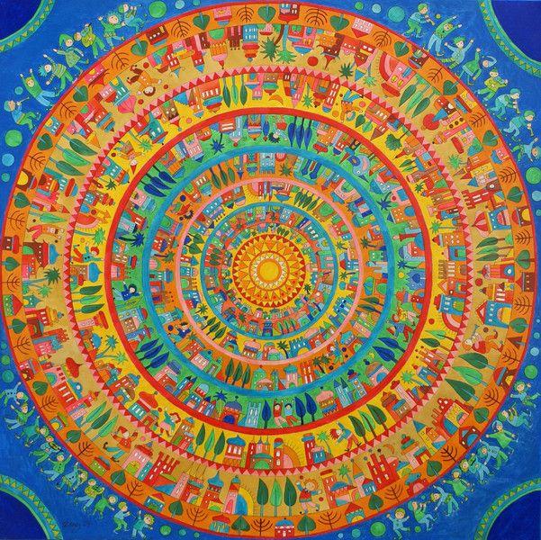 Acrylmalerei - Gemälde,Stadt der Freude,Mandala,Leinwand,Wandbild - ein Designerstück von Mandagora bei DaWanda