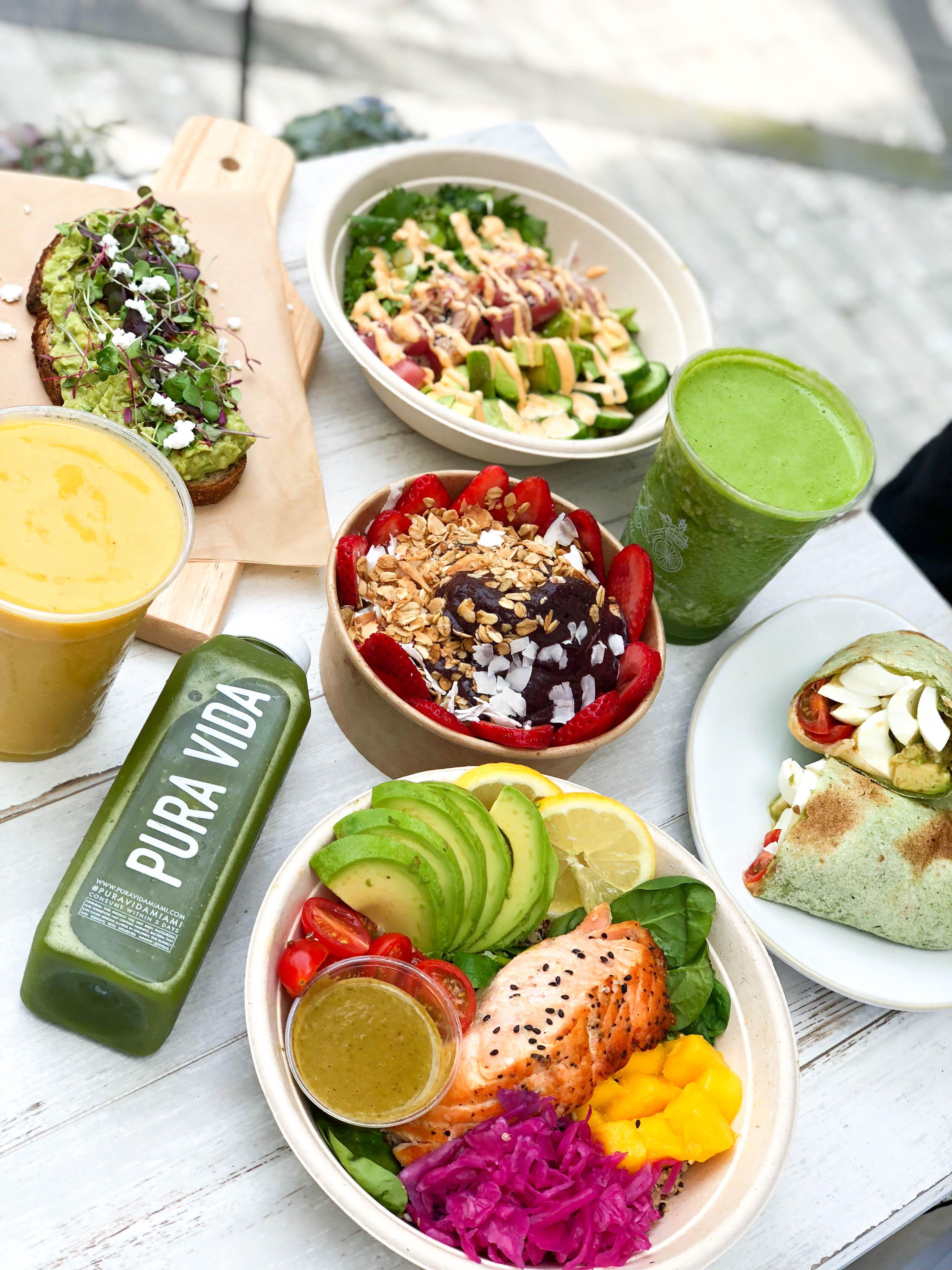 Healthy dishes all day long at Pura Vida Miami. Stop by